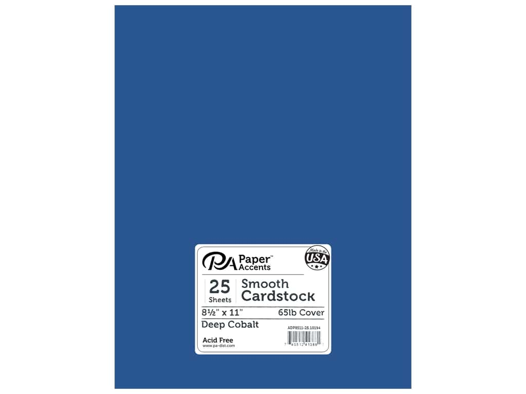 Paper Accents Cardstock 8.5 in. x 11 in. Smooth 65 lb Deep Cobalt 25 pc