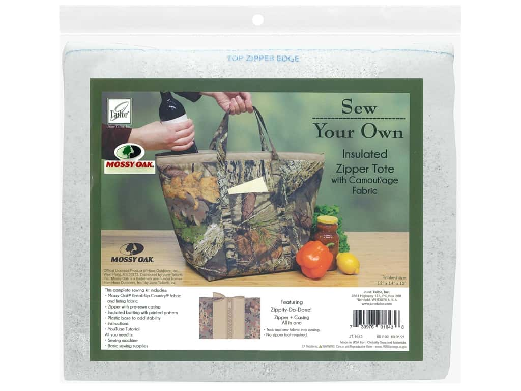 June Tailor Kit Sew Your Own Break Up Insulated Zipper Tote