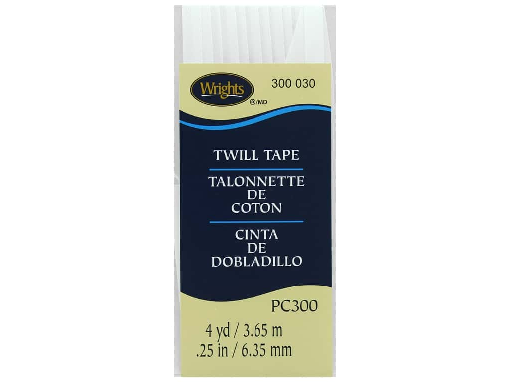 Wrights Twill Tape 1/4  in. x 4 yd. White