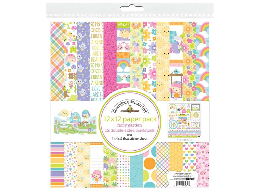 Doodlebug Collection Fairy Garden Paper Pack 12 in. x 12 in.