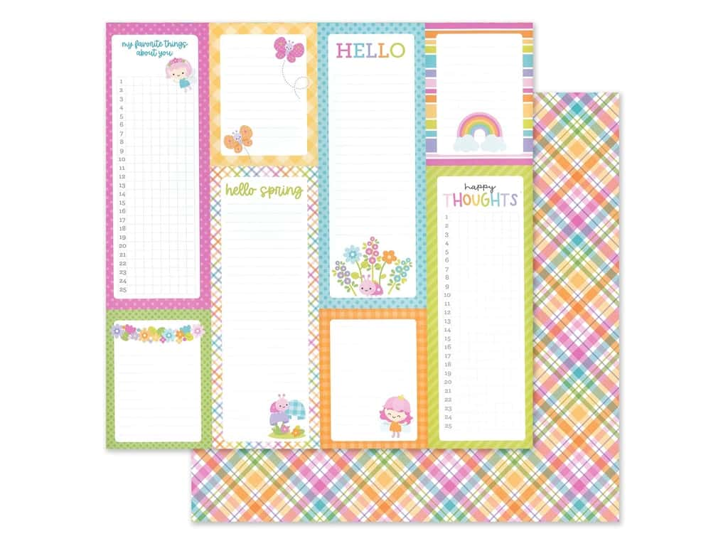 Doodlebug Collection Fairy Garden Paper 12 in. x 12 in. Pixie Plaid (25 pieces)