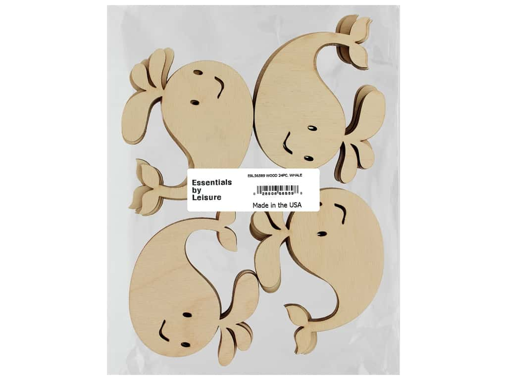 Essentials By Leisure Arts Wood Shape Flat Whale 24 pc
