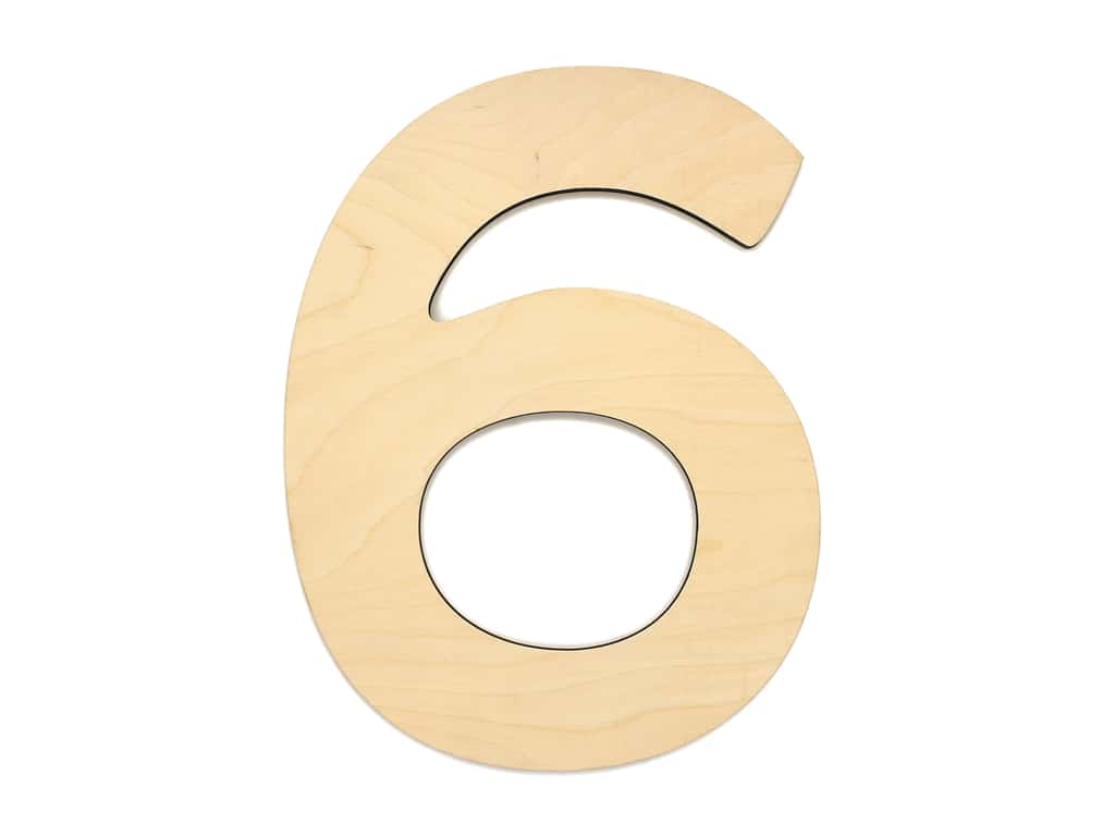 Essentials By Leisure Arts Wood Letter 9.5 in. Birch Number 6