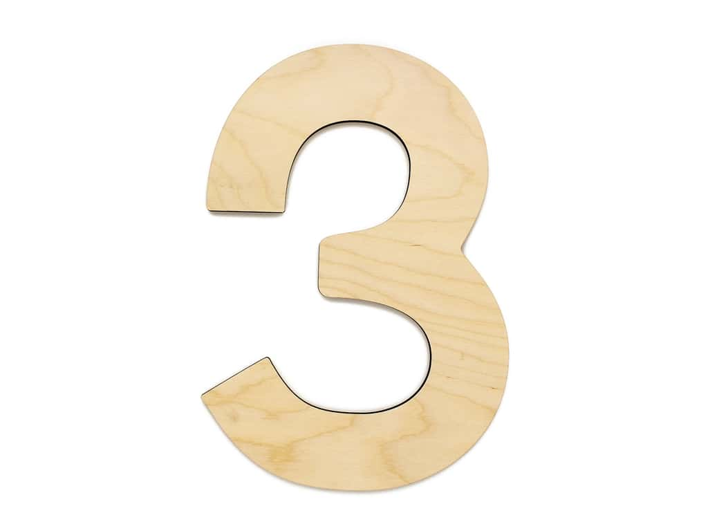 Essentials By Leisure Arts Wood Letter 9.5 in. Birch Number 3