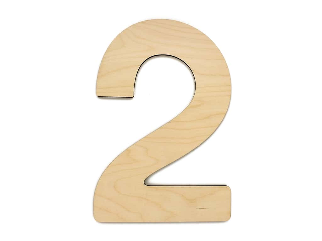 Essentials By Leisure Arts Wood Letter 9.5 in. Birch Number 2