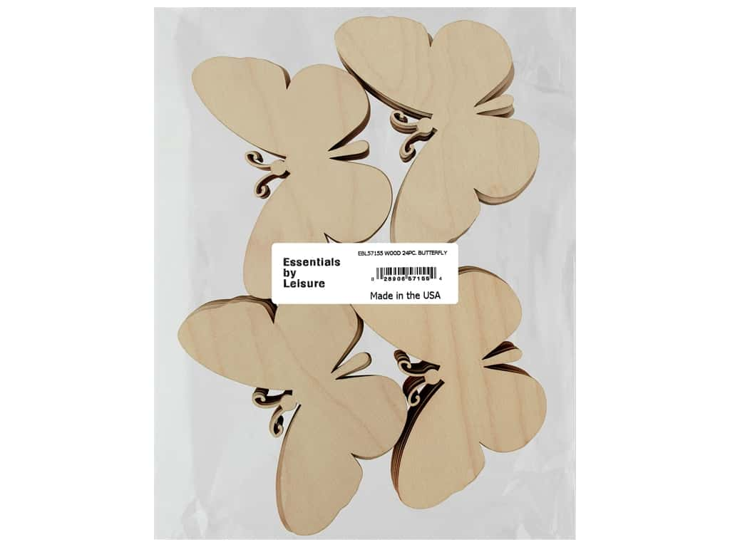 Essentials By Leisure Arts Wood Flat Shape Butterfly 24 pc