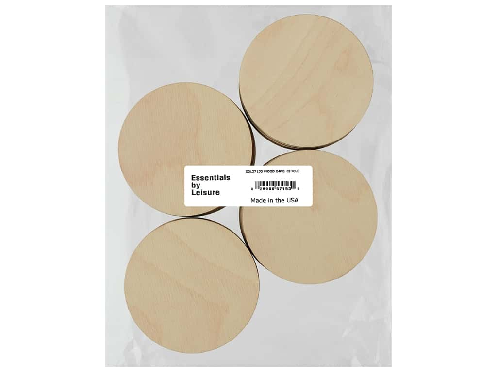 Essentials By Leisure Arts Wood Flat Shape Circle 24 pc
