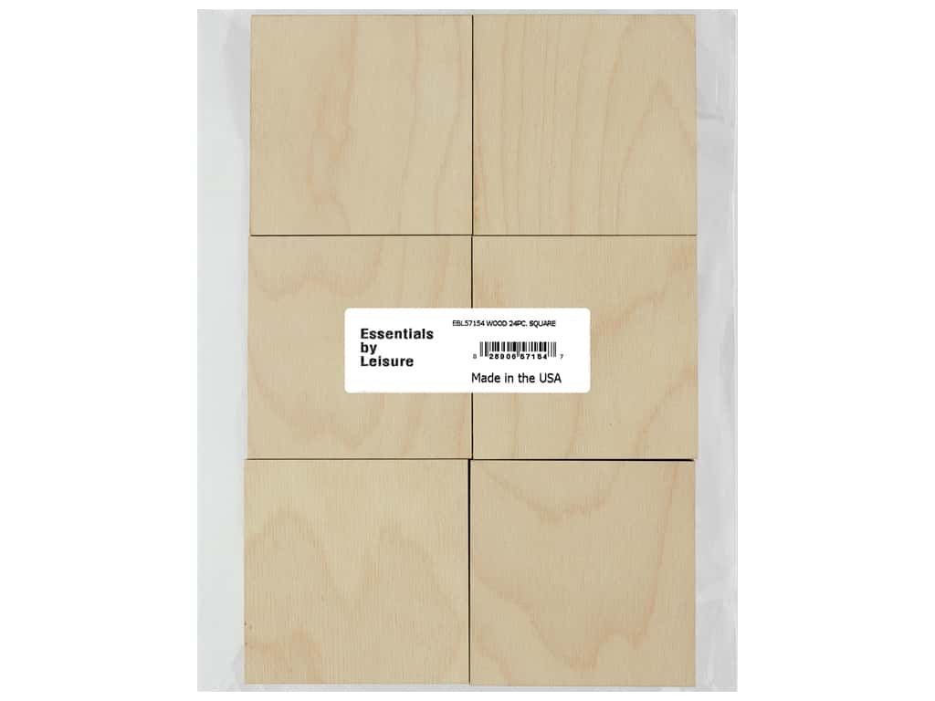 Essentials By Leisure Arts Wood Flat Shape Square 24 pc