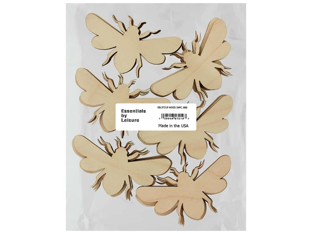 Essentials By Leisure Arts Wood Flat Shape Bee 24 pc