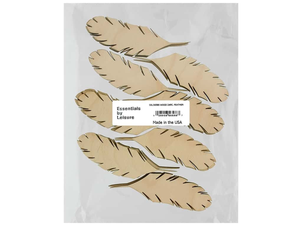Essentials By Leisure Arts Wood Shape Flat Feather 24 pc