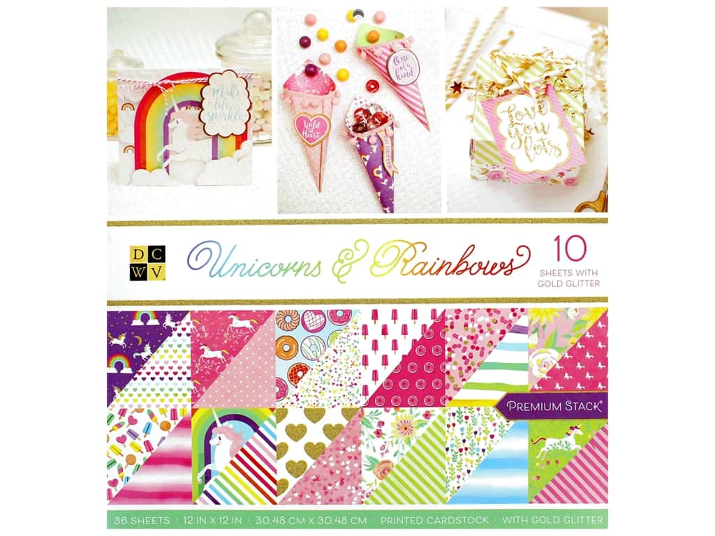 Die Cuts with a View 12 x 12 in. Paper Stack Unicorns & Rainbows