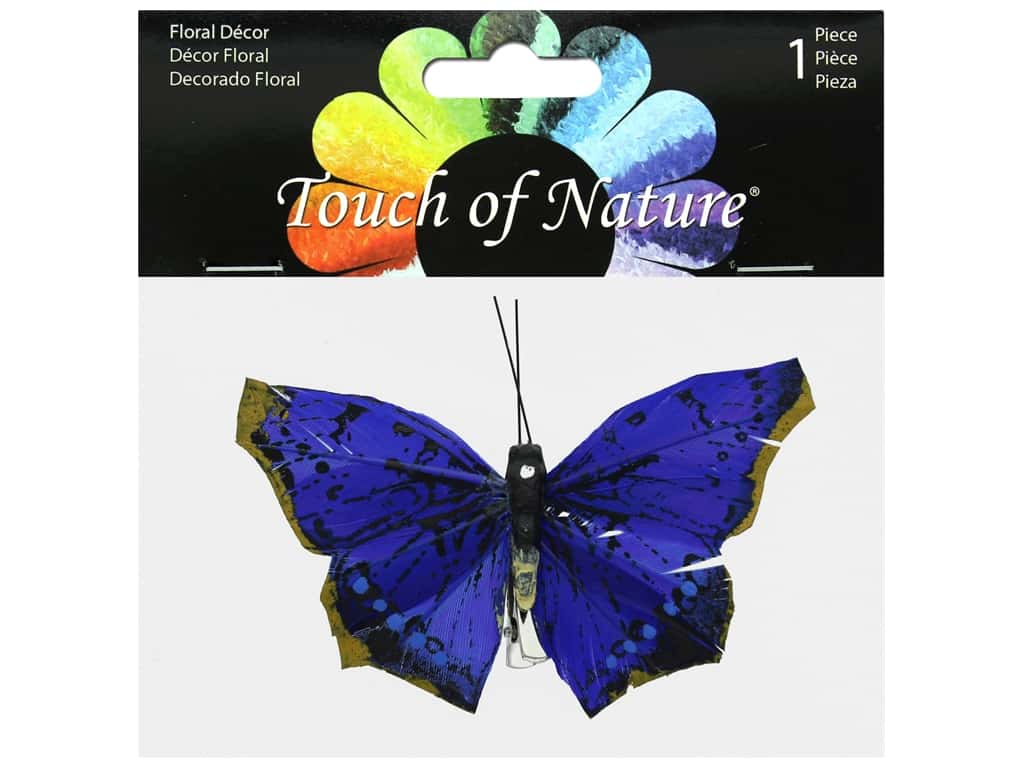 Midwest Design Butterfly 3.5 in. Natural With Clip Blue