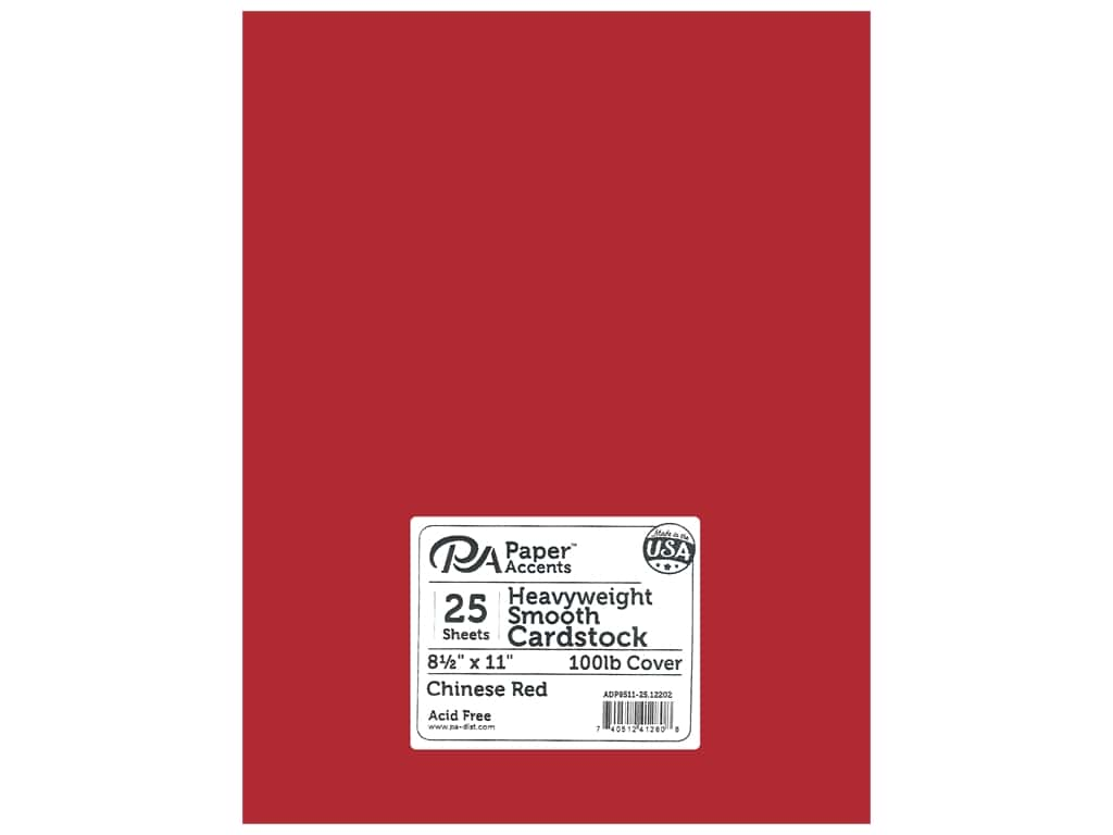 Paper Accents Cardstock 8 1/2 x 11 in. #12202 Heavyweight Smooth Chinese Red 25 pc.