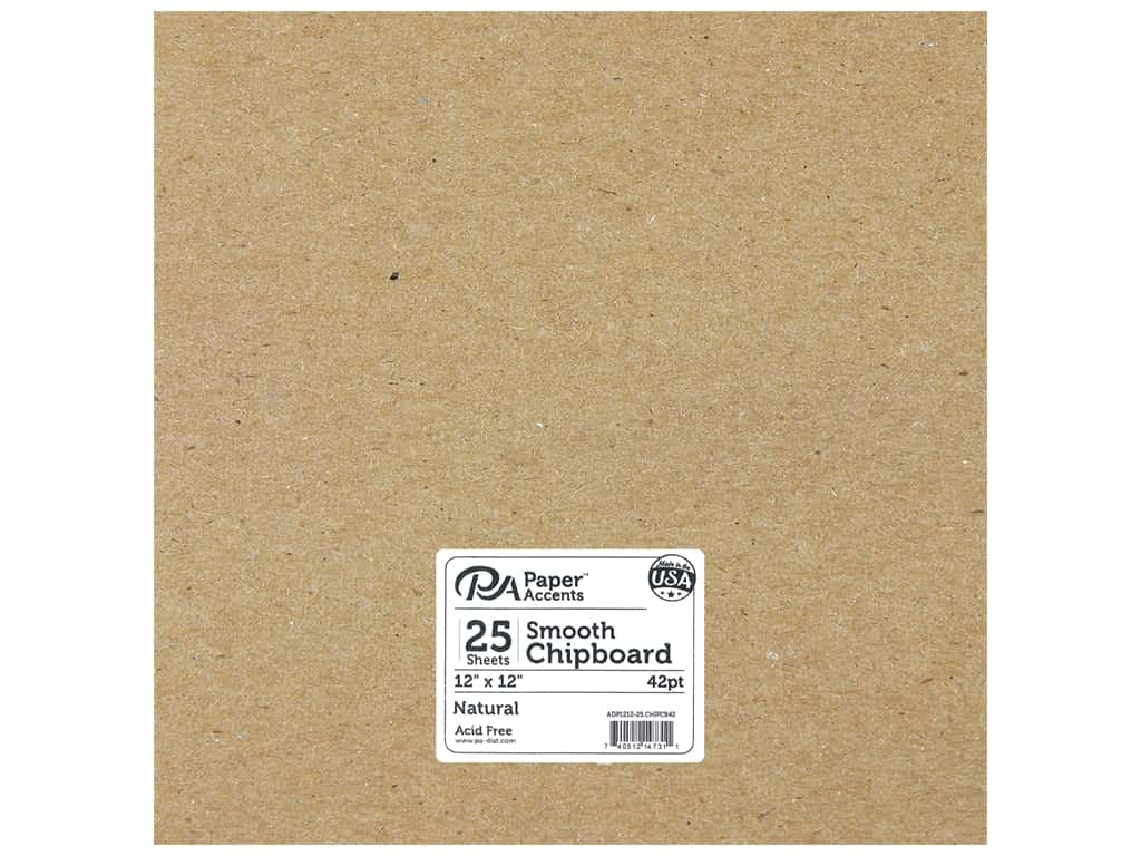 Paper Accents Chipboard 12 x 12 in. 42 pt. XL Heavy Natural 25 pc.