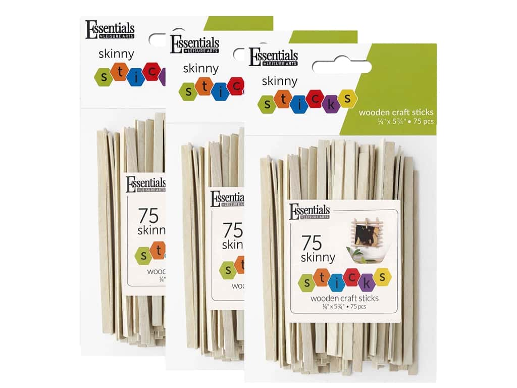 Essentials By Leisure Arts Wood Craft Skinny Sticks .25 in. x 5.75 in. 3 Pack of 75 pc