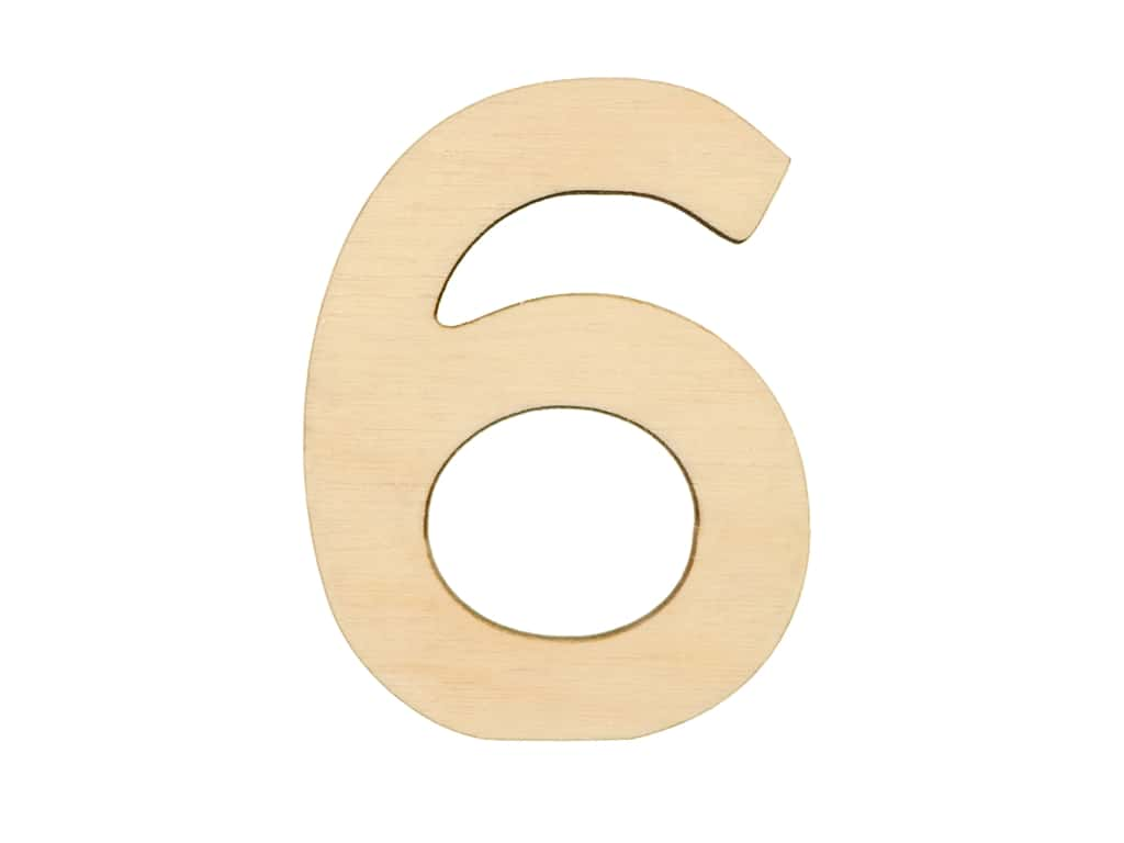 Essentials By Leisure Arts Wood Letter 1.75 in. Birch Number 6