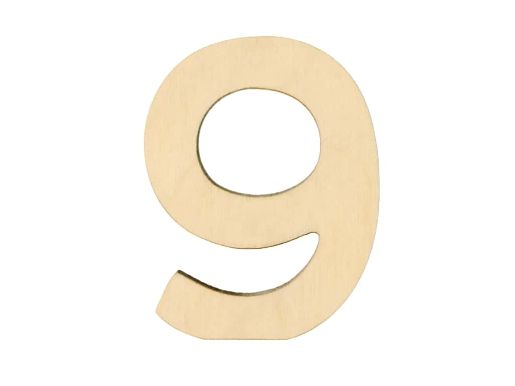 Essentials By Leisure Arts Wood Letter 1.75 in. Birch Number 9