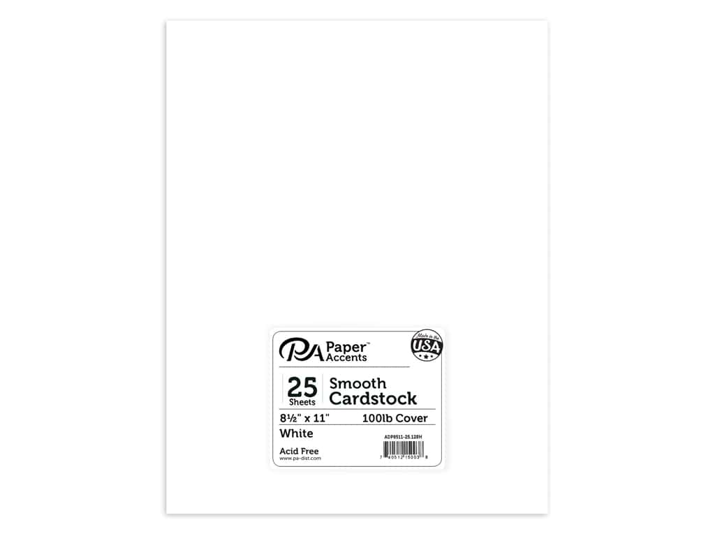 Paper Accents Cardstock 8 1/2 x 11 in. #128H Smooth White 100 lb. 25 pc.