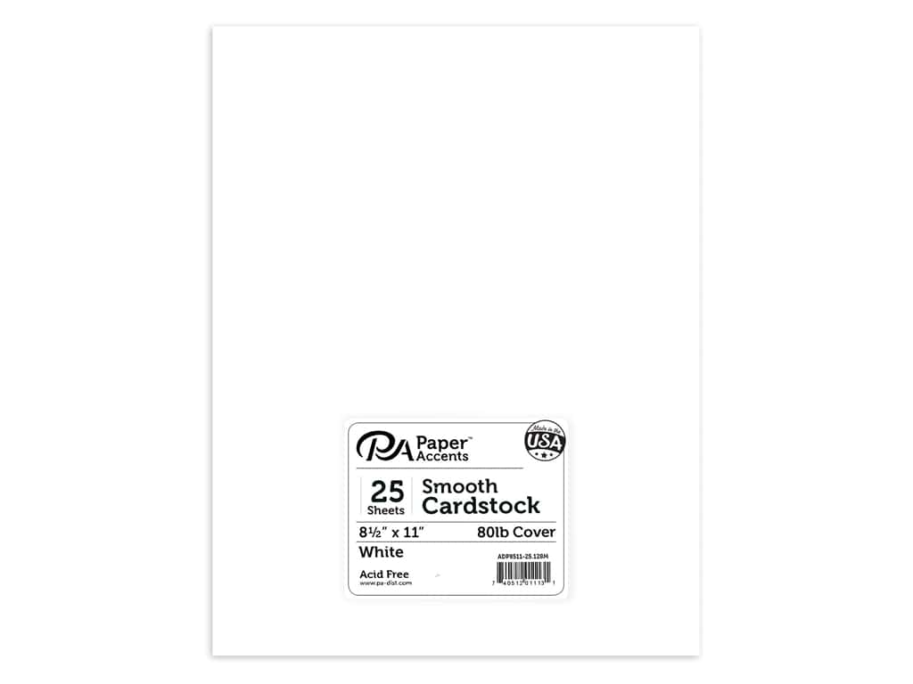 Paper Accents Cardstock 8 1/2 x 11 in. #128M Smooth White 80 lb. 25 pc.