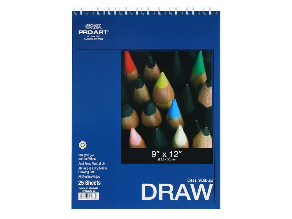 Pro Art Drawing Paper Pad 9 in. x 12 in. 80 lb 25 pc Wire Bound