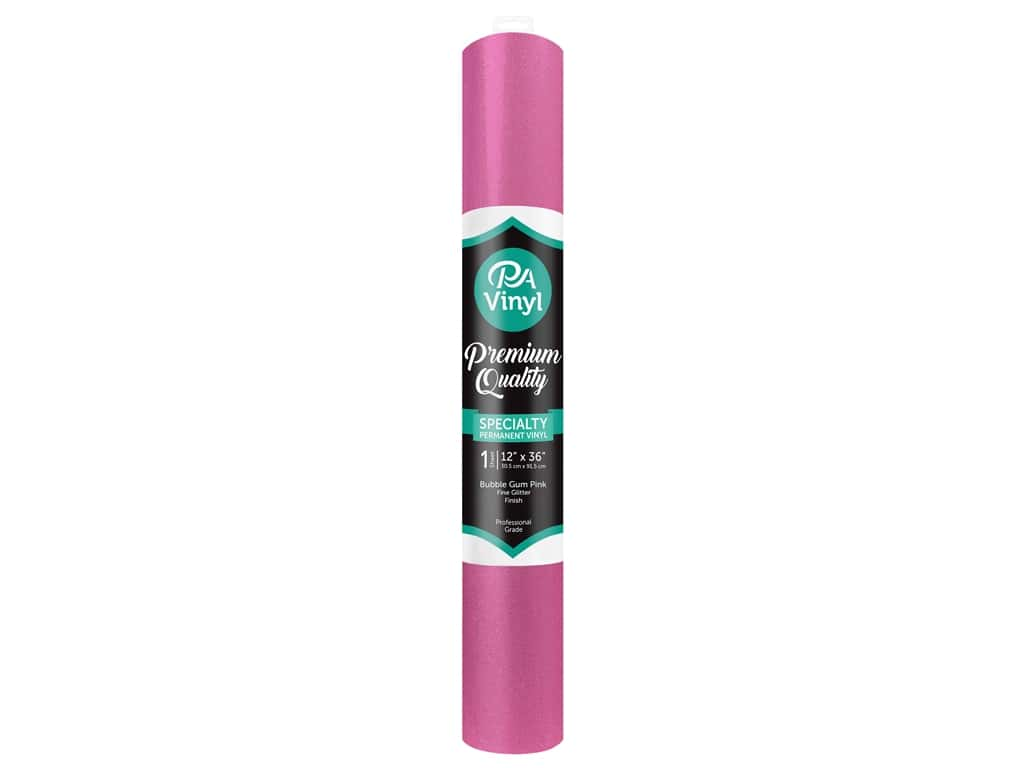 PA Vinyl 12 in. x 36 in. Roll Permanent Adhesive Fine Glitter Bubble Gum Pink