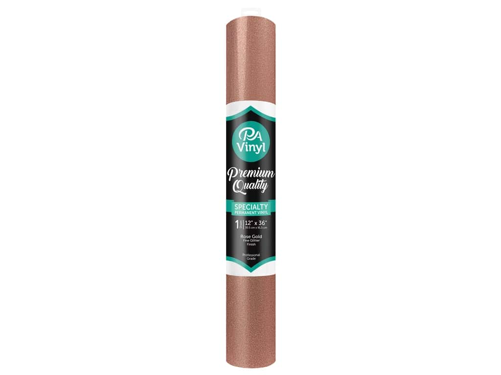 PA Vinyl 12 in. x 36 in. Roll Permanent Adhesive Fine Glitter Rose Gold