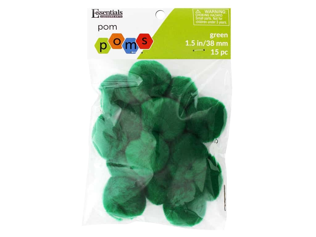 Essentials By Leisure Arts 1 1/2 in. Pom Poms - Green 15 pc.