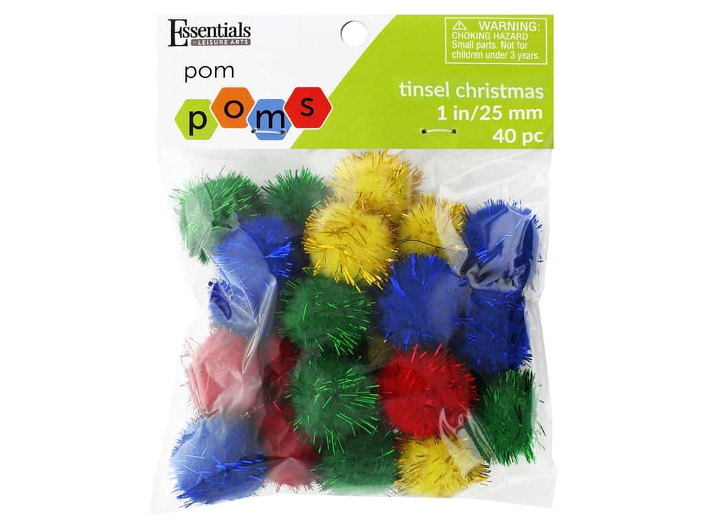 Essentials By Leisure Arts 1 in. Pom Poms - Tinsel Christmas 24 pc.
