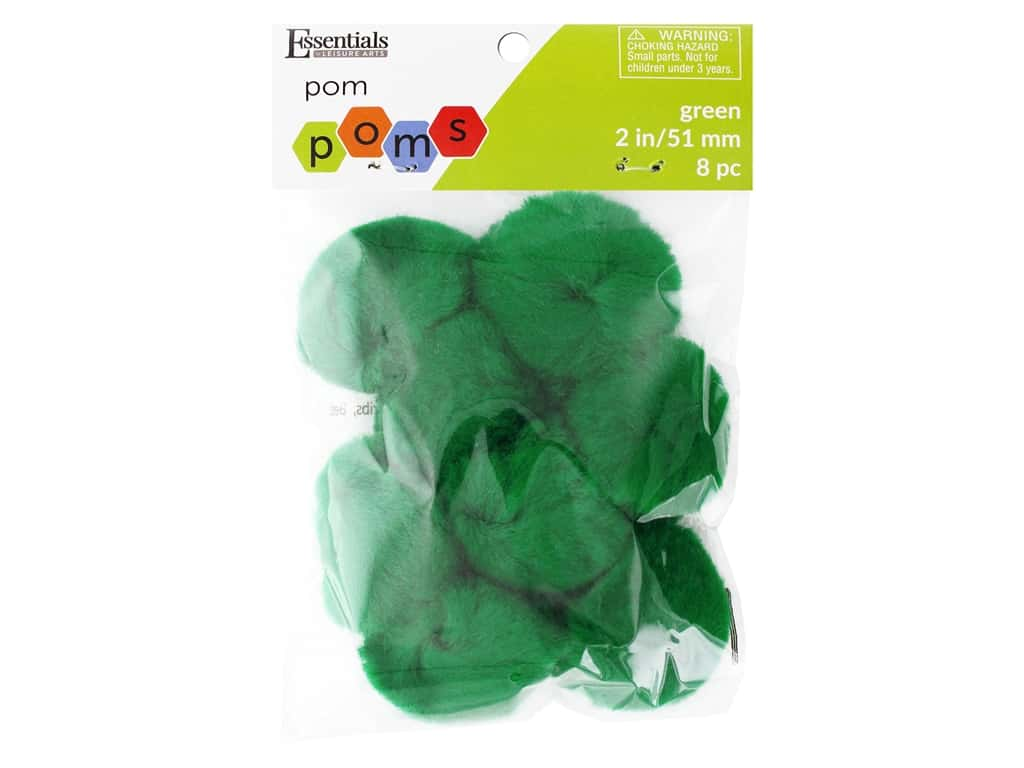 Essentials By Leisure Arts 2 in. Pom Poms - Green 8 pc.