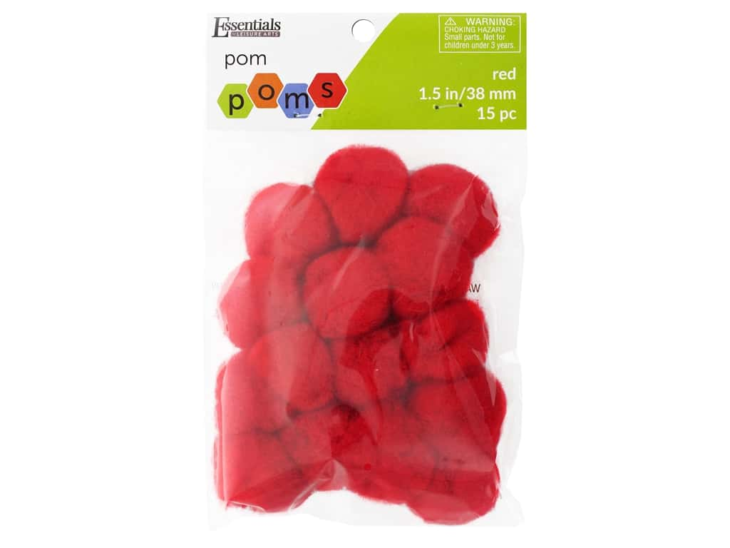 Essentials By Leisure Arts 1 1/2 in. Pom Poms - Red 15 pc.