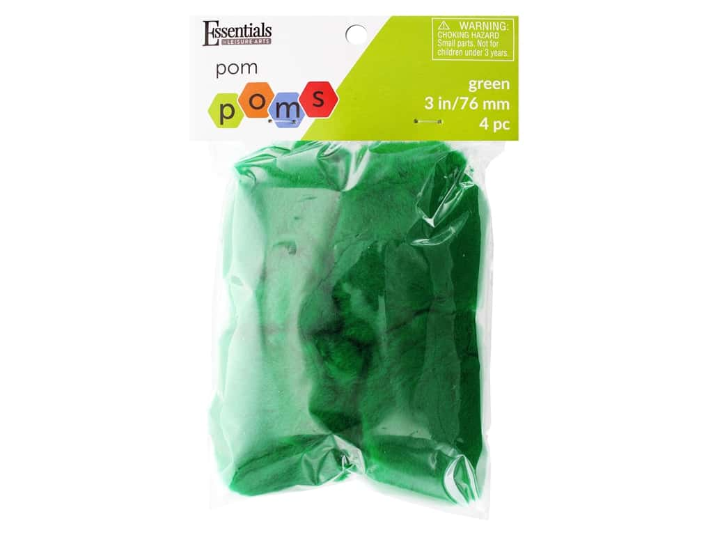 Essentials By Leisure Arts 3 in. Pom Poms - Green 4 pc.