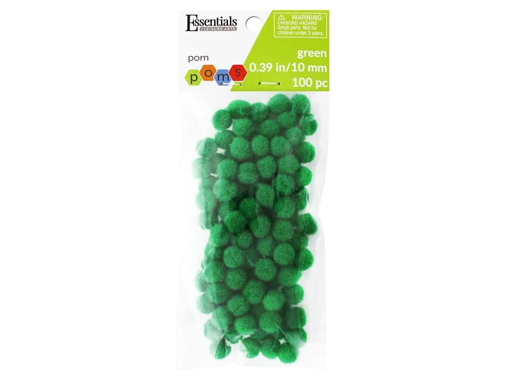 Essentials By Leisure Arts 3/8 in. Pom Poms - Green 100 pc.