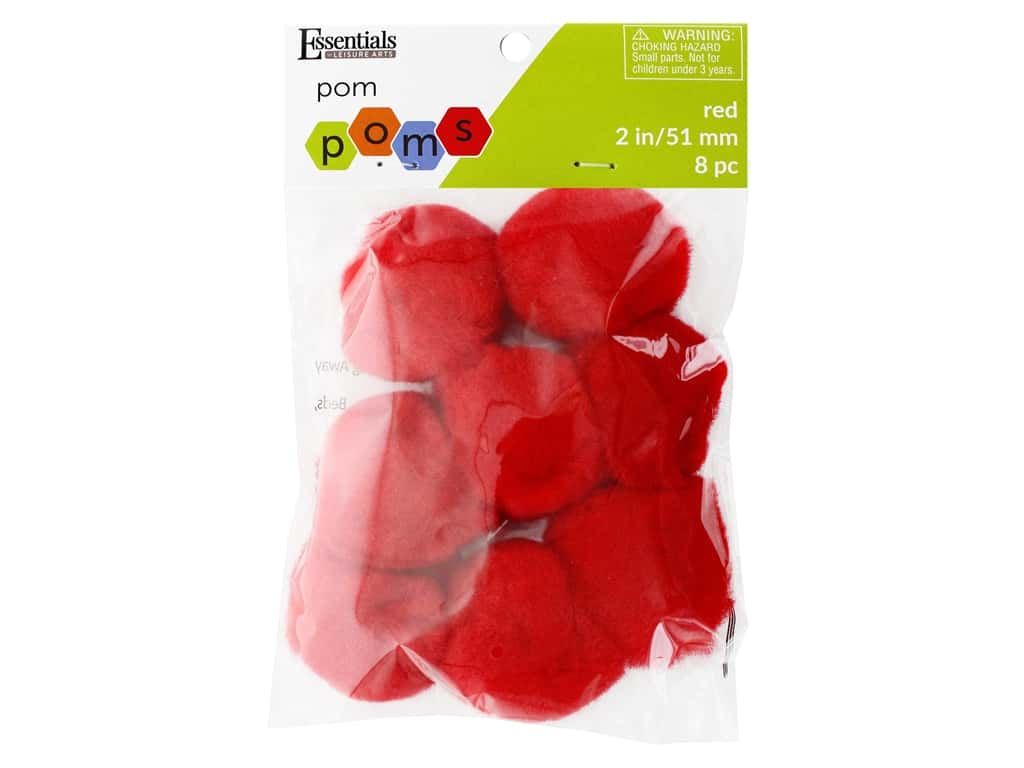 Essentials By Leisure Arts 2 in. Pom Poms - Red 8 pc.
