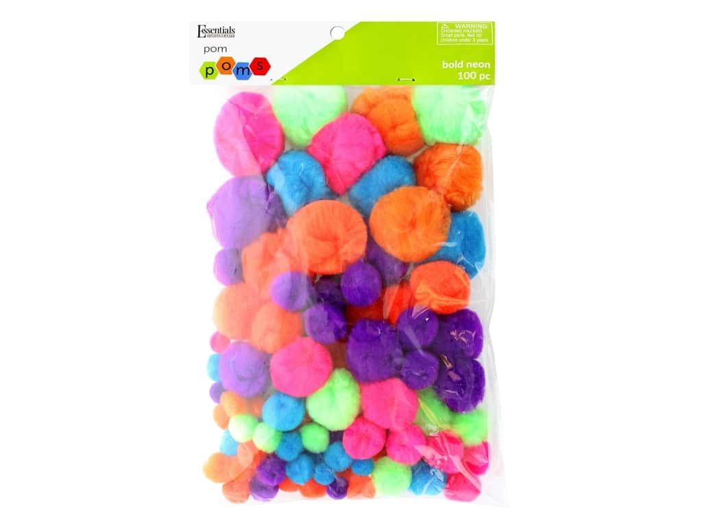Essentials By Leisure Arts Assorted Pom Poms - Bold Neon 100 pc.
