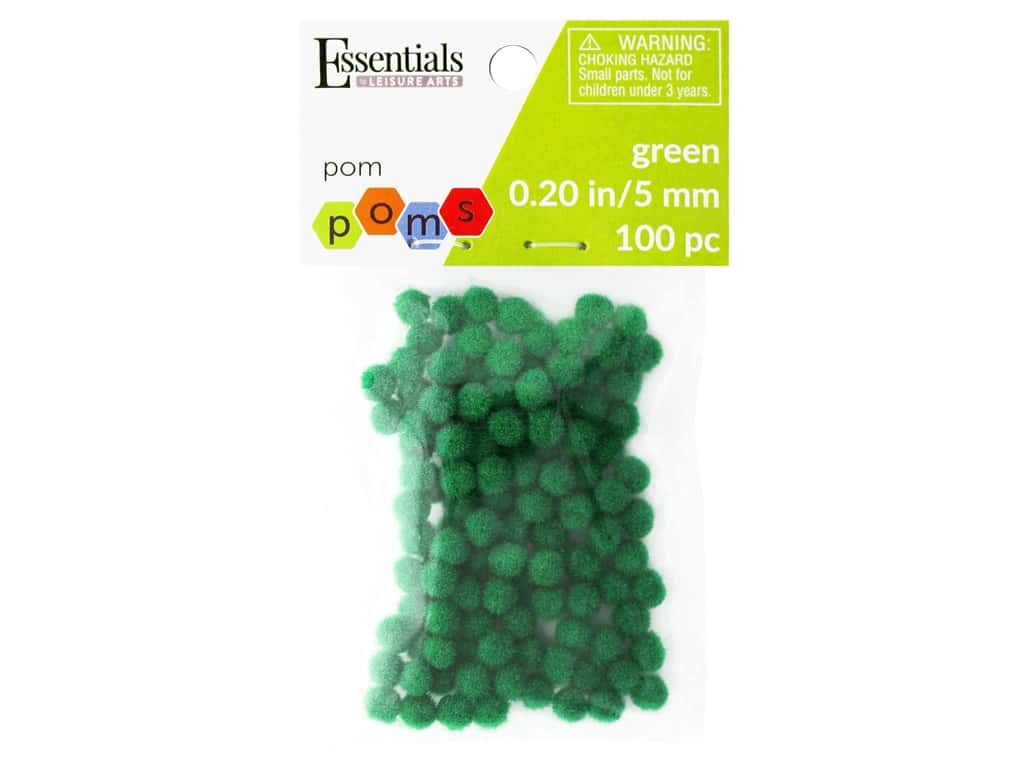 Essentials By Leisure Arts 3/16 in. Pom Poms - Green 100 pc.