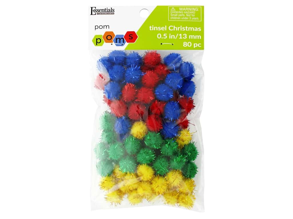 Essentials By Leisure Arts 1/2 in. Pom Poms - Tinsel Christmas 80 pc.