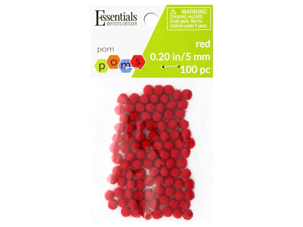 Essentials By Leisure Arts 3/16 in. Pom Poms - Red 100 pc.