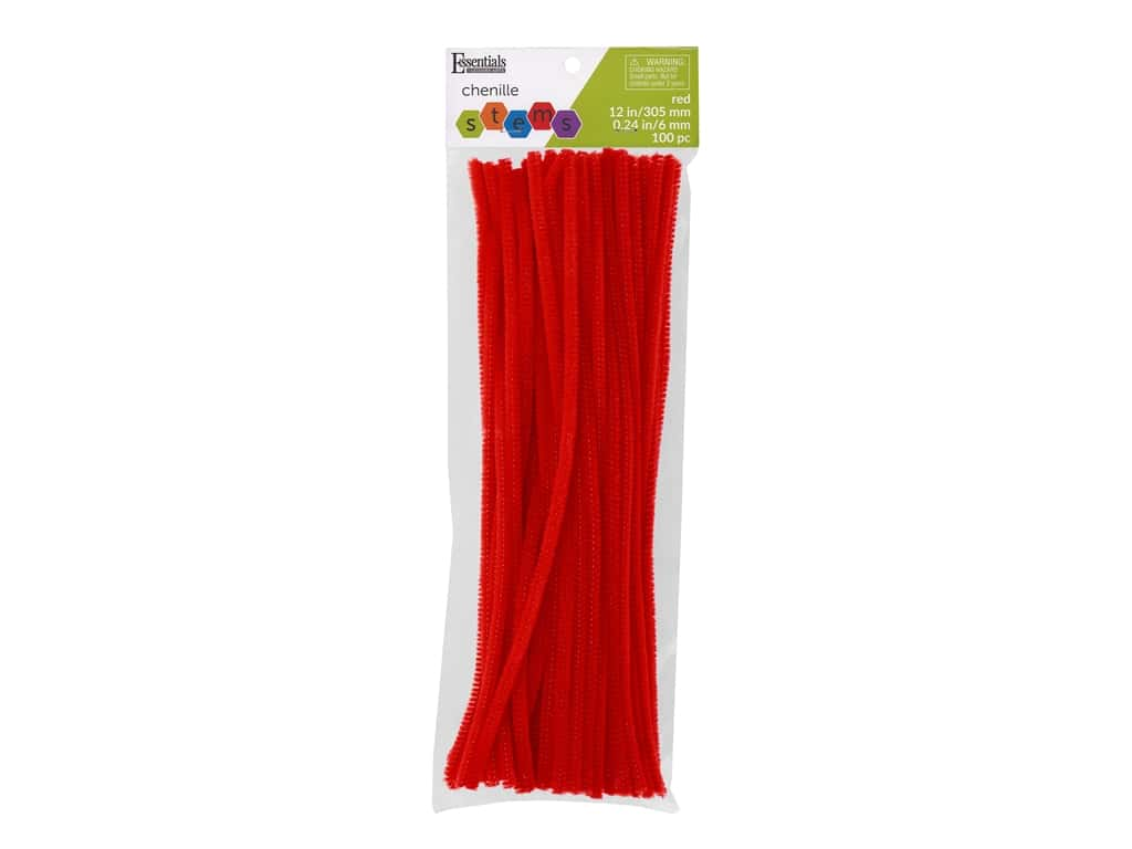 Essentials By Leisure Arts Chenille Stems - 6 mm x 12 in. - Red 100 pc.
