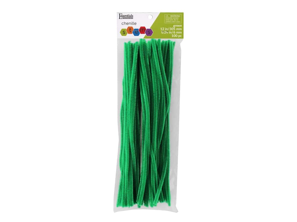 Essentials By Leisure Arts Chenille Stems - 6 mm x 12 in. - Kelly 100 pc.