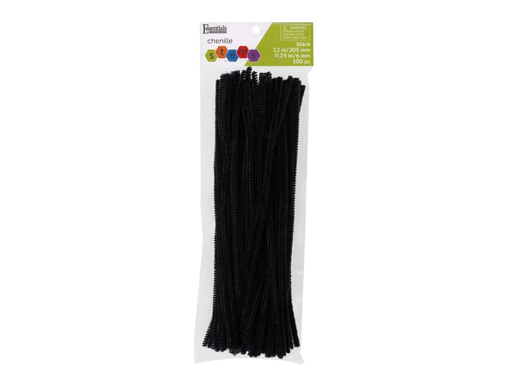 Essentials By Leisure Arts Chenille Stems - 6 mm x 12 in. - Black 100 pc.