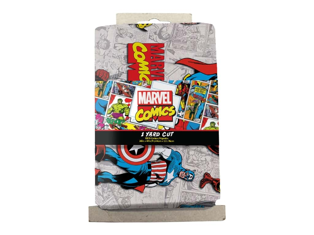 Marvel Comics 1 Yard  Precut Cotton Fabric - Superimposted Characters 4 pc.