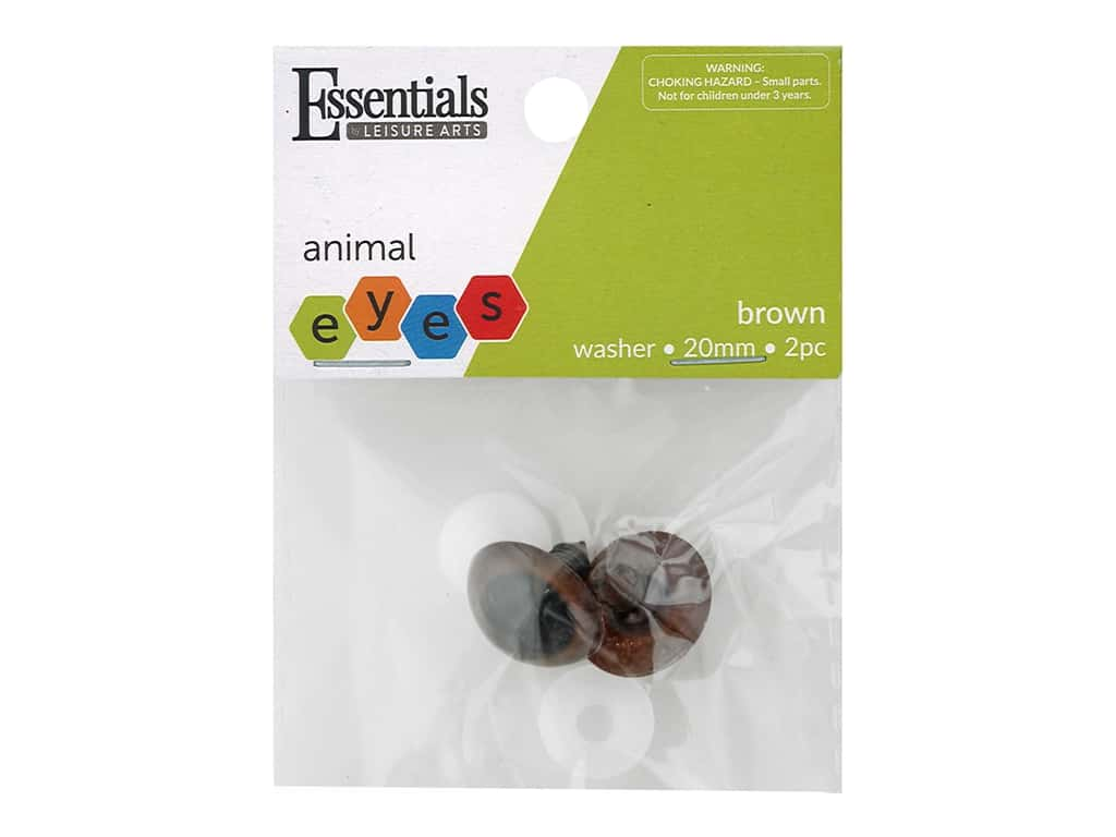 Essentials By Leisure Arts Eye Animal 20 mm with Washer Brown 2 pc