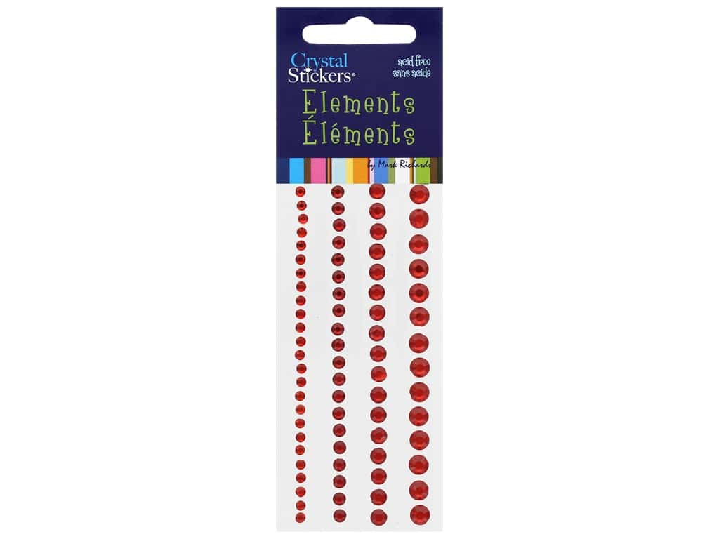 Mark Richards Crystal Stickers Round Red 3 to 6 mm