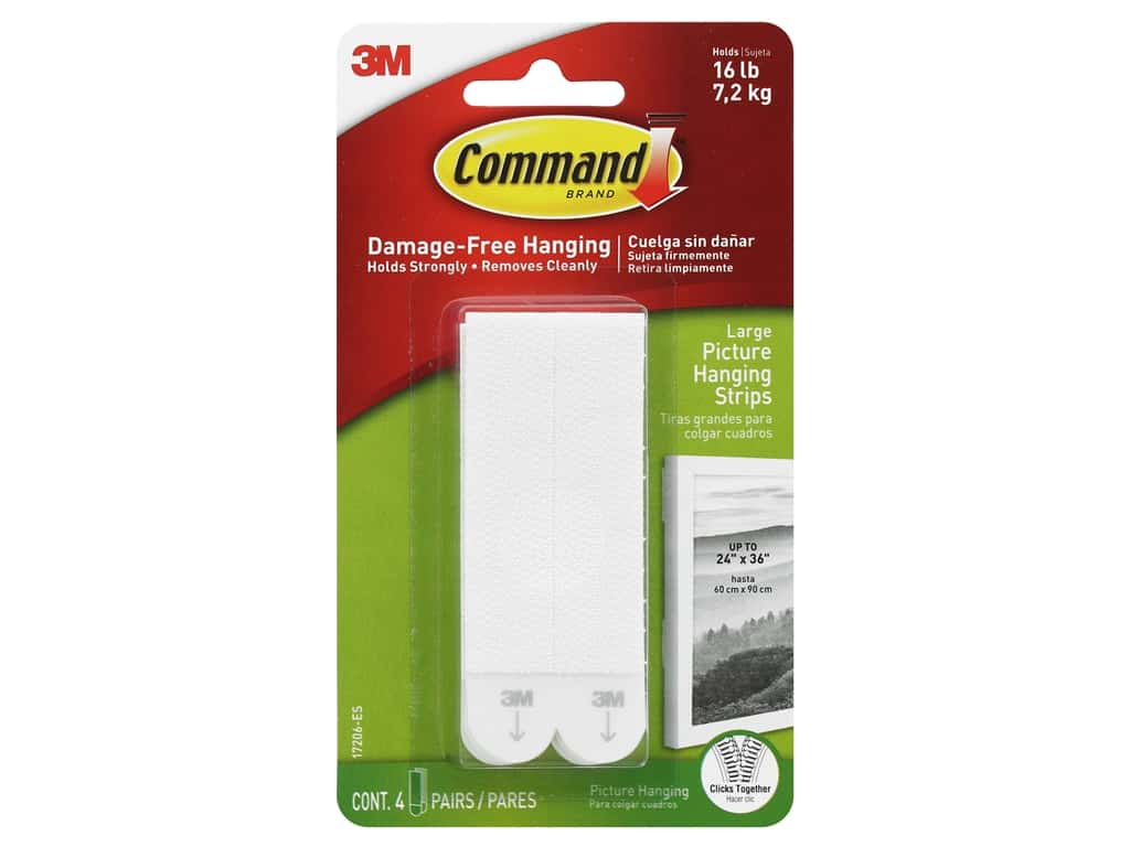 Command Adhesive Picture Hanger Strips Large 4 pc
