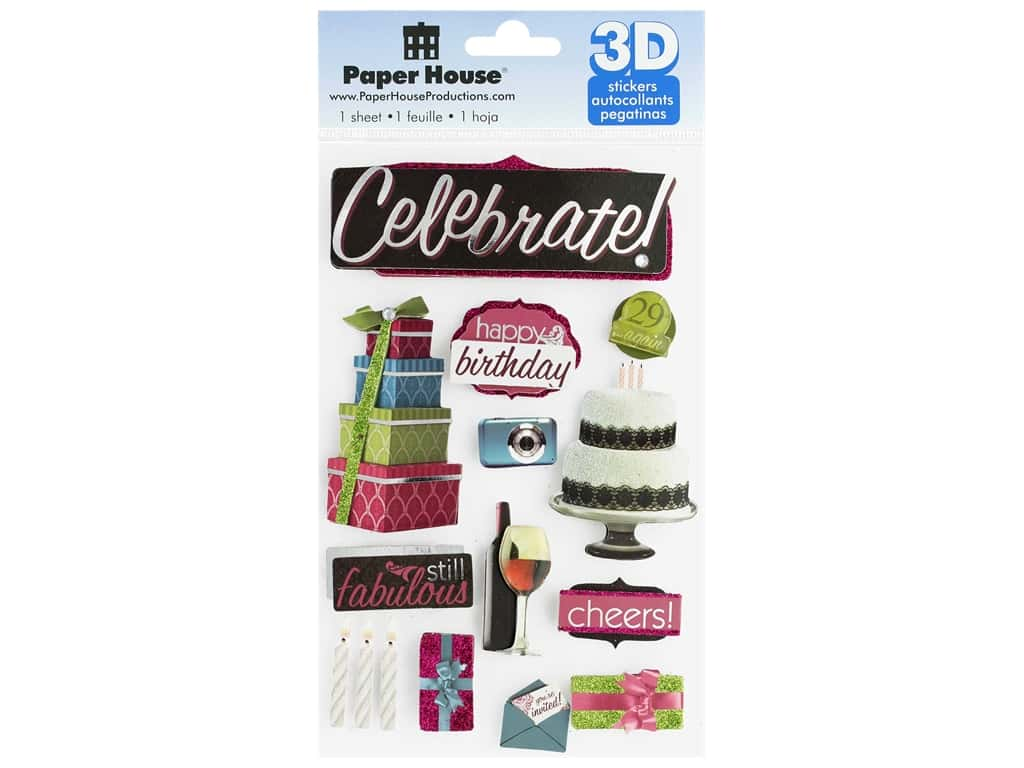 Paper House 3D Stickers - Celebrate