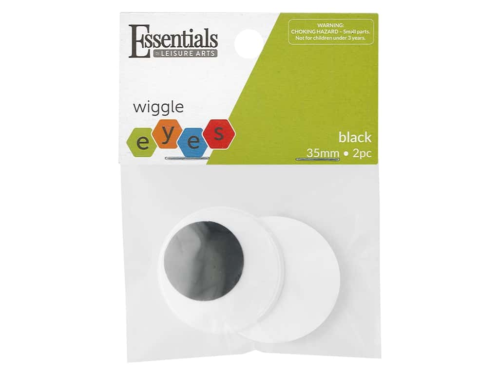 Essentials By Leisure Arts Eye Paste On Moveable 35 mm Black 2 pc