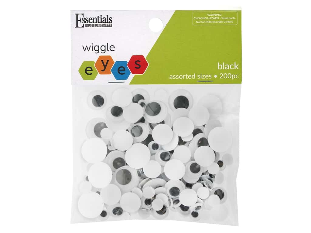 Essentials By Leisure Arts Eye Paste On Moveable Assorted Sizes Black 200 pc