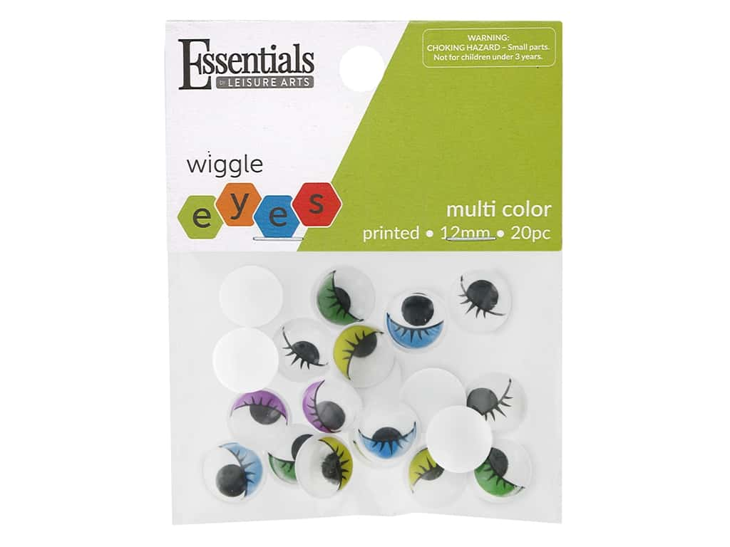 Essentials By Leisure Arts Eye Printed Moveable 12 mm Multi 20 pc