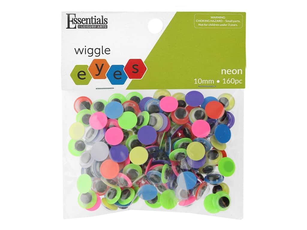 Essentials By Leisure Arts Eye Paste On Moveable 10 mm Neon 160 pc