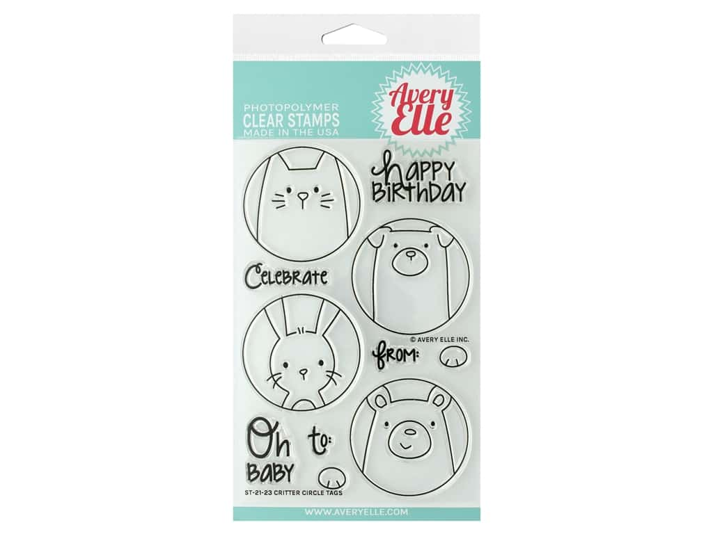 Avery Elle Clear Stamp Critter Circle Tag